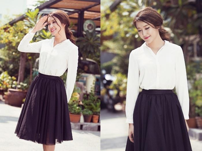 Mix đồ với chân váy xòe màu đen: nên kết hợp với áo gì?