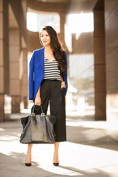 Kết hợp quần culottes với áo blazer
