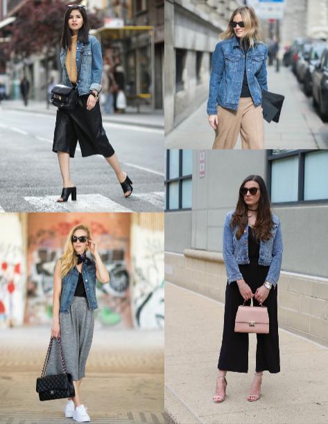 Quần culottes sánh đôi cùng áo khoác jeans